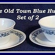 Corning Corelle Old Town Blue ~ Set of 2 Cups & Saucers