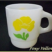 SALE PENDING Fire King Foxy Flowers Yellow Mug