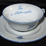 """Johann Seltmann """"Tee is Philosophie"""" Floral Tea Cup and Saucer, Bavaria"""