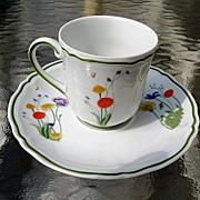 Denby Limoges Porcelain Demitasse Cup and Saucer Country Blossom