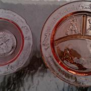 Tiara Crystal Pink Glass Children's Nursery Rhyme Set