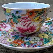Guangxu Period Qing Dynasty Chinese Tea Cup & Saucer Millefleur