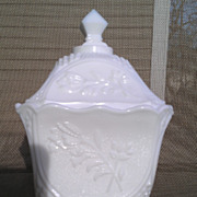 Imperial Milk Glass Covered Candy Box ~ Floral Pattern