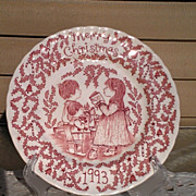 "Royal Crownford 1993 ""A Happy Holiday to You"" Christmas Plate"
