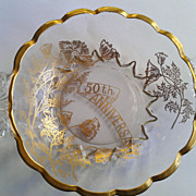 New Martinsville Janice 50th Gold Anniversary Two Handle Bowl