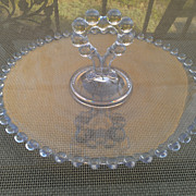 Imperial Glass Candlewick Tidbit Tray with Heart Shaped Handle
