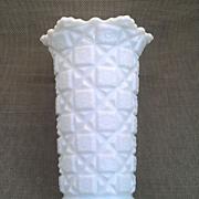 "Westmoreland Old Quilt 9"" Milk Glass Vase"