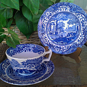 Spode Blue Italian Trio Cup & Saucer & Bread Plate