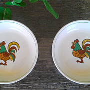 Holt Howard Rooster Pin Dish / Coaster Set