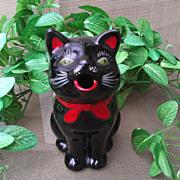 SOLD Shafford Redware Black Cat Creamer / Pitcher MIJ