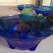 REDUCED Hazel Atlas Royal Lace Cobalt Blue Three Toed Bowl