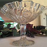 Imperial Glass Daisy & Button Clear Round Compote #505