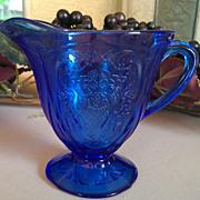 SOLD Hazel Atlas Royal Lace Cobalt Blue Footed Creamer