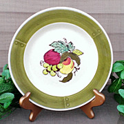 Metlox Poppytrail Provincial  Fruit Salad Plate Set Green Border