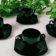 Fostoria Mayfair Ebony Demitasse Cup and Saucer Set