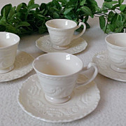 SALE PENDING Steubenville Adam Antique Footed Demitasse Cup & Saucer Set