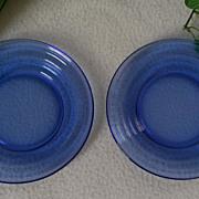 Hazel Atlas Moderntone Cobalt Blue Bread Plate Set of 2