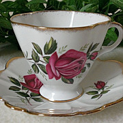 Royal Imperial China Red Rose Scalloped Tea C&S Gold Trim Plus 1