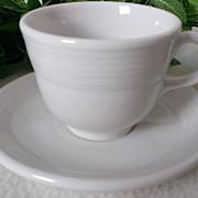 Homer Laughlin Fiesta Ware White Flat Cup & Saucer Set
