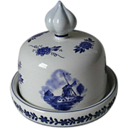 Delft Blue Hand Painted Holland Butter Dish by Elesva