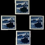 Holland America Lines Blue Delftware Coaster /  Tile Set
