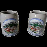 SALE PENDING Salzburg Stoneware 1/2 Liter Beer Steins Set