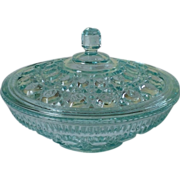 Indiana Glass Windsor Candy Dish & Lid Aqua Color