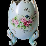Lenox Porcelain Floral Footed Majolica Egg Vase