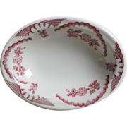 Walker China Red Transferware Oval Side Dish