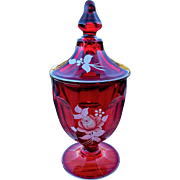 Westmoreland Colonial Ruby Floral Covered Candy Jar