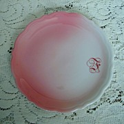 "SALE Syracuse China Pink Airbrushed  "" F"" Plate"