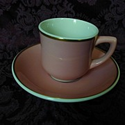 Syracuse China Pink & Gold Demitasse Cup & Saucer