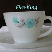 Fire King Premium Cup & Saucer Set ~ Blue Carnation