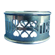 SALE Sterling Silver Napkin Ring with Heart Shaped Piercings So Sweet!