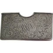 SALE Chased Sterling Silver Card Case