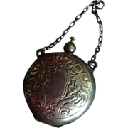 SALE Ornate Sterling silver Coin Holder for Chain or Chatelaine