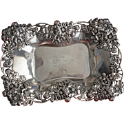 SALE Fab Sterling silver Dish with Ornate Flowers by Graf, Washbourne and Dunn