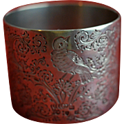 SALE English Sterling silver Napkin Ring With Engraved Bird London 1897