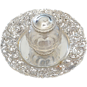 English Victorian Sterling Silver Top Inkwell with Cherub and Bird Underplate