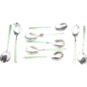 SALE 9 Sterling silver with Green Guilloche Enamel Ice Cream Forks
