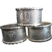 SOLD 3 English Diamond Pattern Sterling silver Napkin Rings with Funky Crest 1878-9