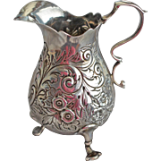 SOLD English Victorian Sterling silver Footed Repousse Milk Jug or Creamer