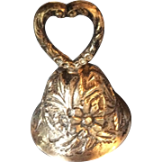 Hand Decorated Kirk Sterling Repousse silver Bell with Heart Shaped Handle