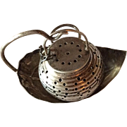 Sterling silver Lantern shaped Tea Ball on Leaf Shaped Stand