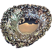 English Footed Sterling silver Heart Shaped Dish
