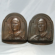 SALE The Aviator Charles Lindbergh Bookends by Connecticut Foundry Bronze Iron