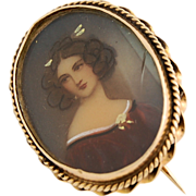 14k Gold Edwardian Miniature Portrait Brooch Pin Hand Painted Lovely Lady