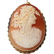 SALE Large 14k Gold Carnelian Shell Cameo Hand-carved Oval Brooch Pendant Woman in Profile Cla