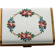 SALE Guilloche Enamel Card Case Gold Plated Pink Rose Flowers