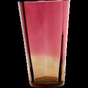SALE Antique 19th Century Amberina Glass Lemonade Eight Panel Tumbler Flared Tapered